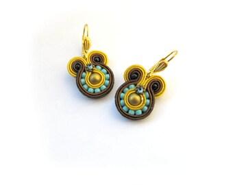 Mustard Dangle Earrings, Brown Soutache Earrings, Handmade Earrings, Mustard Brown Turquoise, Soutache Jewelry