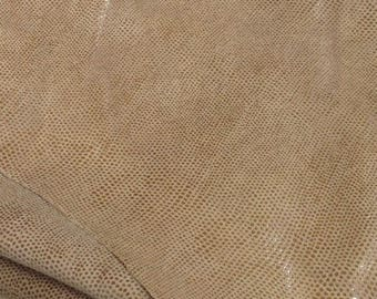 EMB26 Leather Cow Hide Cowhide Craft Fabric Beige Embossed Scales 18 sq ft  FREE SHIPPING