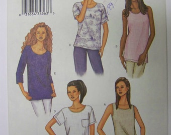 UNCUT 2002 Easy Butterick 3383 TOPS Pattern szs 6-8-10-12-14