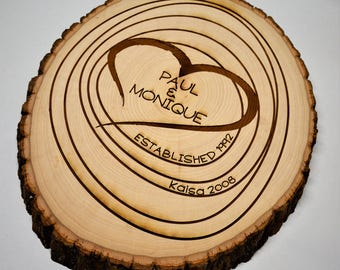 Tree Slice with Custom Engraving, wooden sign, custom sign