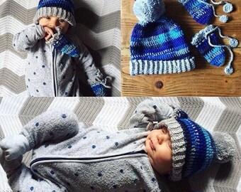 Crochet Baby Hat Pattern - Pom Pom Hat Pattern - Bobble Hat Pattern - Crochet Newsboy Hat Pattern - Crochet patterns for Babies