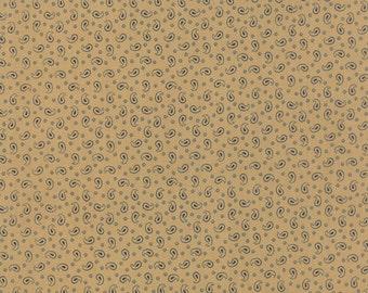 Moda Polka Dots Paisleys Tan BlueTiny Paisley and Dot Fabric 14804-13 BTY