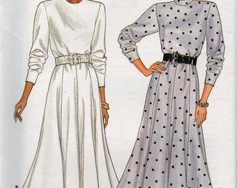 Vintage 1986 Butterick FLARED GORED Skirt DRESS Pattern 4324 Misses Sizes 8 10 12