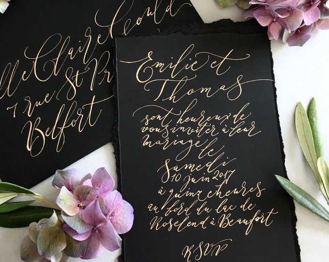 Featured listing image: Beautiful black calligraphy wedding invitation with gold ink