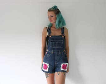 Crochet patch dungarees size 6