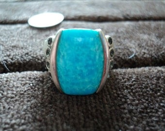 Turquoise and Smokey Quartz 11g Sterling Silver Ring (10.75)