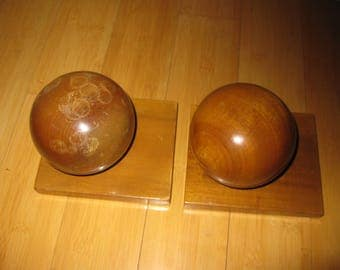 50% Off Vintage Myrtle Wood Ball Bookends