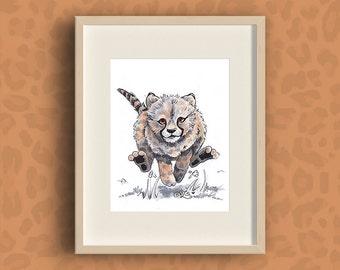 Cheetah Fine Art Print   watercolor print wild animal cub • safari • digital painting • premium velvet paper • 8x10 / 5x7 / 4x6 inches