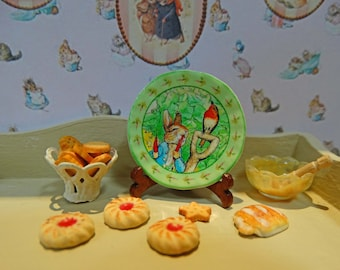 Peter Rabbit Style Miniature Plate for Dollhouse 1:12 scale