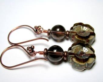 Czech Flower Earrings, Drop Dangle Earrings, Smoky Quartz Earrings, Brown Boho Earrings, Gift for Her, Flower Jewelry