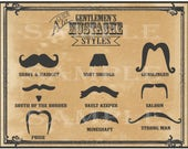 Mustache Styles Printable 11x14 Old West Barber Shop Steampunk Victorian Gentlemen Sign Mustache Names Gunslinger Strong Man Vault Keeper