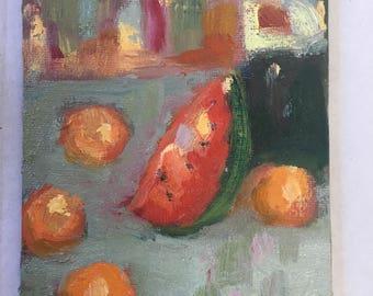 Fruit and Wine, 4x6, still life