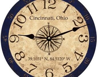Personalized Longitude Latitude Coordinates Clock