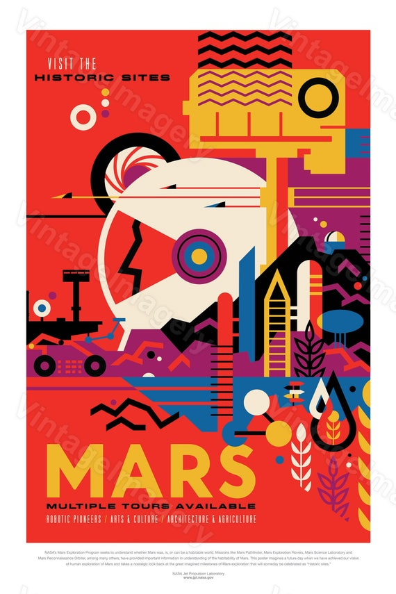 Mars Poster The Red Planet 2016 NASA/JPL Space Travel Poster nasa mars poster Great Gift idea Mars Colony, Office, man cave, Wall Art Decor