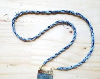 Stone Pendant Necklace - Denim Jewelry Modern Bohemian Indigo Summer Statement Necklace Minimalist Long Lanyard Necklace Spring 2017 Trends