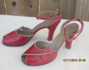 Ankle-Strap Peeptoe Heels Red Hot 1940s Sz.8 M by StylePride - CRANEMOON10OFF