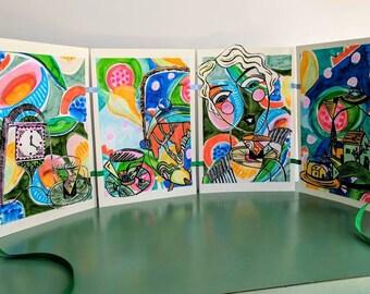 Tropical Deco, Original linocut Artist Book,  by Australian Artist Samantha Thompson
