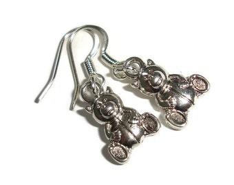 Teddy bear earrings bear earrings teddy bear hypo allergenic earrings gift for new mom silver teddy earrings silver earrings short earring