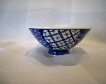 Blue and white Asian rice/ tea bowl