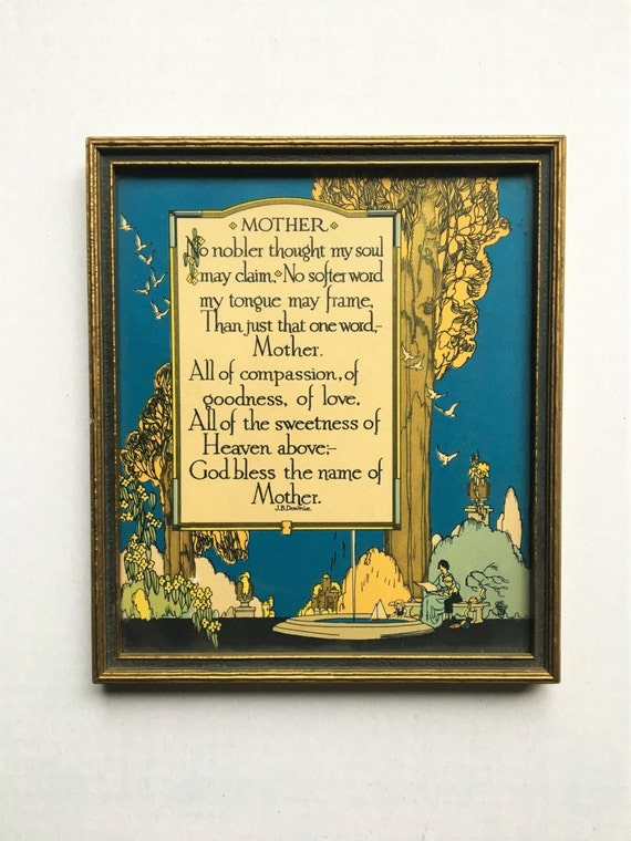 """Framed J.B. Downie """"Mother"""" verse. 1920s-30 art. Lithograph. Gold. Art Deco. Art Nouveau. Gifts for mom. Framed print."""