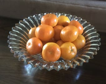 Vintage Pleated Glass Starburst Bowl.