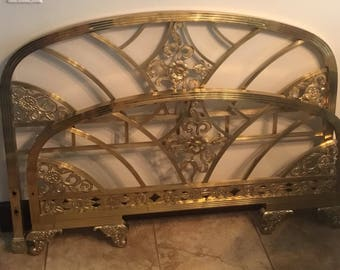 Fabulous Art Deco Brass Full Size Bed.