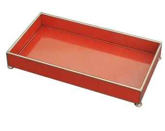 "Orange Lizard Print Metal and Glass 6"" x 12"" Tray"