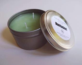 Travel Tin Candle in Nantucket Scent   8 oz   Two Wicks   Hand Poured, Highly Scented