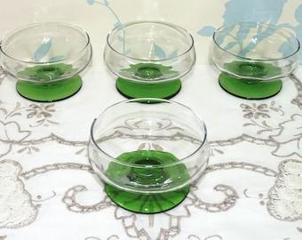 Glass Dessert Bowls x 4, Glass Dessert Dishes x 4,  Clear Glass, Green Glass, Candy, Bonbon, Sweets, Vintage Glass, mid century, homeware