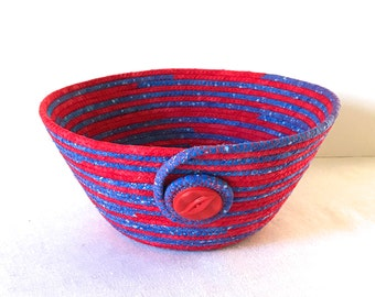 Coiled Fabric Basket, Coiled Fabric Bowl, Red and Blue Bowl