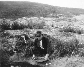 Alaskan miner panning for gold, 1916, mining, stream, river with pet dog AK