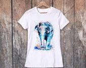 Asian Elephant watercolor ladies' T-shirt, women's tees, Teen Clothing, Girls' Clothing, ring spun Cotton 100%, watercolor print