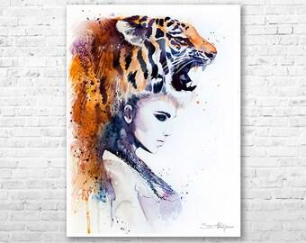 Tiger Girl watercolor painting print by Slaveika Aladjova, Fashion Illustration, Woman art, Illustration, watercolour, wall art, home decor