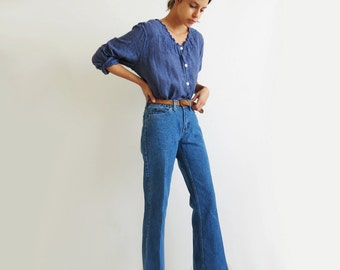 High Waist Flared Jeans // Medium 29 Inch Waist Western Boot Cut Jeans // Vintage Women's Clothing
