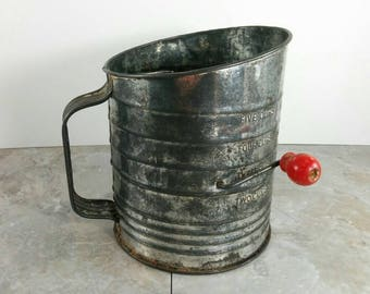 Vintage Bromwells Flour Sifter with Aged Patina and Red Wood Handle - Primitive Country Kitchen