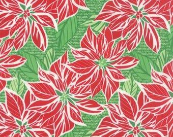Moda Christmas fabric by the yard - Moda Jingle fabric by Kate Spain - Poinsettia fabric - #17019