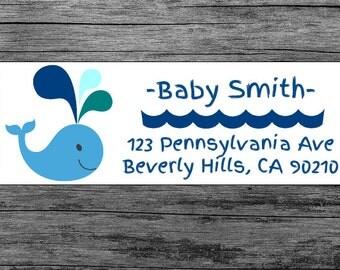 Baby Shower Blue Whale - Custom Return Address Labels