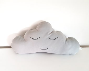 Cloud cushion in grey. Baby pillow. Nursery decoration. Kids bedding. Baby shower gift. Kids room. Baby shower gift.