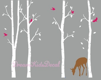 Wall decal, nature wall decals, vinyl wall decals, wall stickers, Deer, white birch tree, nursery wall stickers-Deer in forest-DK042