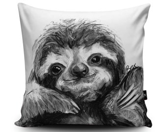 Sloth Cushion, Sloth Pillow, Sloth Gift, Sloth Home Decor, Sloth Bedding, 18x18 inch, 45/60cm Faux Suede Cushion by Bex Williams