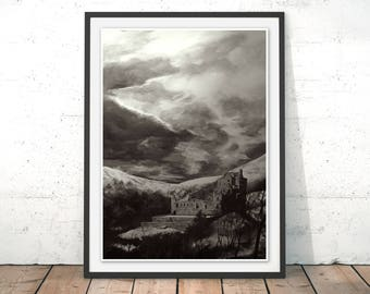 Castle Campbell Painting Scotland Castle Art Print Scottish Wall Art Scottish Painting Castle Campbell Poster by Rosalind Dando