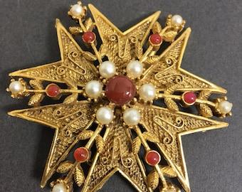 Brooch Pin Maltese Cross Faux Pearls Cabochon