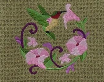 Hummingbird and Flowers - Waffle Weave Microfiber Hand Towel - Green