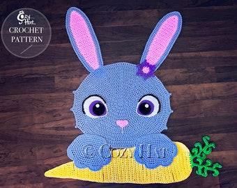CROCHET PATTERN Bella the Bunny Rug, by Cozy Hat. Sale!