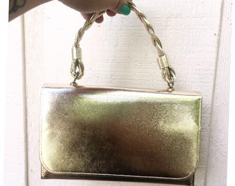 Vintage Gold Metallic Purse With Accessories Included