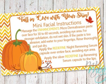Fall Rodan + Fields Mini Facial Card Design Digital Download