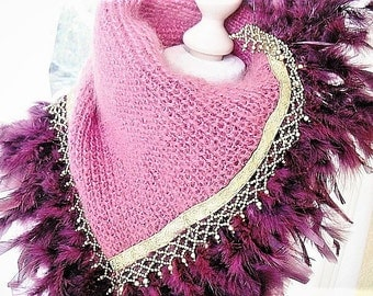 Knit scarf purple Mohairschal with feathers pink scarf knitted accessories