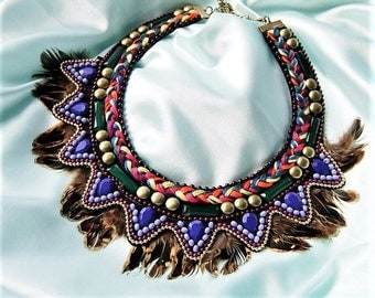 Statement necklace colorful hippie necklace ethnic springs