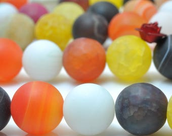 37 pcs of Natural  Rainbow Agate matte round beads in 10mm
