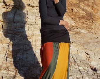 Orange and green cotton jersey harem pants, one size fits all.